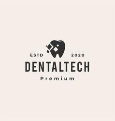 dental tech hipster vintage logo icon vector image