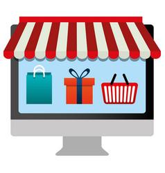 Desktop computer with shopping set icons vector