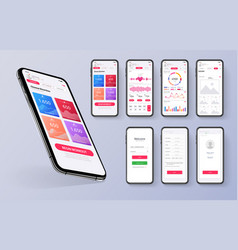 different ui ux gui screens fitness app and flat vector image