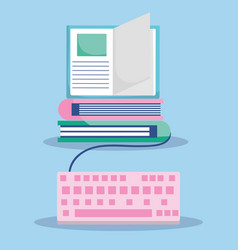 Education online ebooks connection keyboard vector