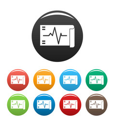 Electrocardiogram icons set color vector