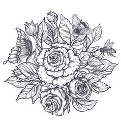 elegant hand drawn graphic bouquet with rose vector image