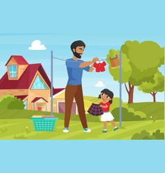 family wash clothes domestic household chores vector image