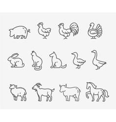 Farm animals thin line style flat design vector image
