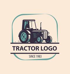 Farm tractor logo agriculture vector