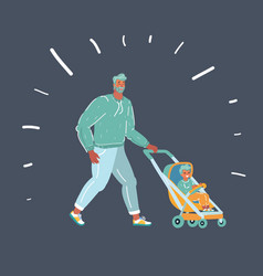 father with a stroller with child vector image