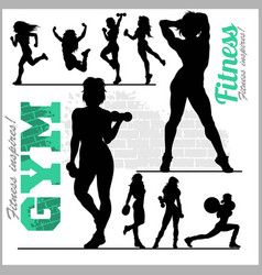 Fitness woman girl silhouettes vector