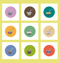 Flat icons halloween set of magic potion cocktail vector
