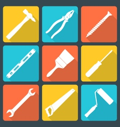 Flat white house remodel tools icons vector