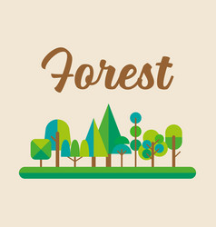 Forest in flat style graphic design vector