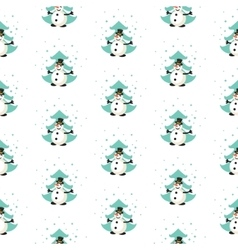 Fun snowman in the forest pattern vector image