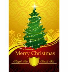 Gold Christmas tree vector