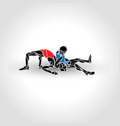 greco roman sport fighting game black and vector image