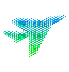 halftone blue-green airplane intercepter icon vector image