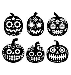 halloween pumpkin design - sugar skull vector image