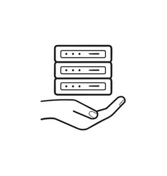 hand holding server hand drawn outline doodle icon vector image