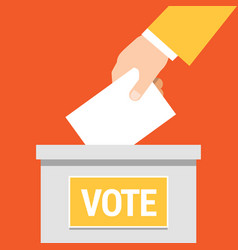 hand putting paper in ballot box vector image