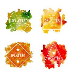 Handdrawn watercolor splatter logos vector