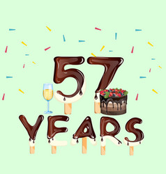 happy birthday fifty seven 57 year vector image