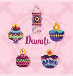 happy diwali festival diya lamps lanterns vector image