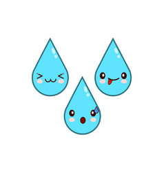 Happy water drop cartoon characters icon flat vector