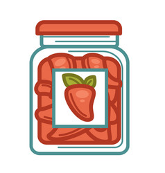 homemade preserved red peppers in glass jar on vector image
