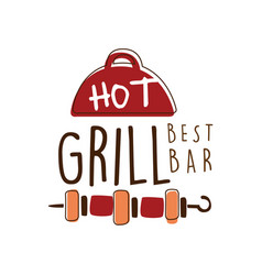 Hot grill best bar logo template hand drawn vector