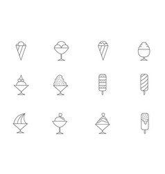 ice cream thin line icons vector image
