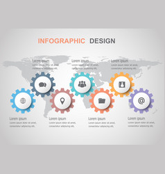 infographic design template with gears vector image