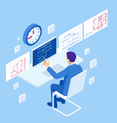 isometric construction project management vector image