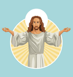 Jesus christ religious stamp vector