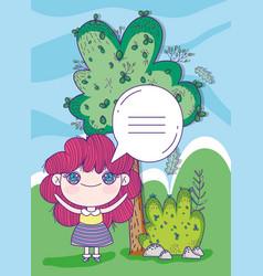 kids little girl anime cartoon talk bubble tree vector image