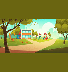 kindergarten kids playground empty children area vector image