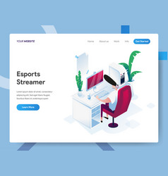 landing page template esports streamer vector image