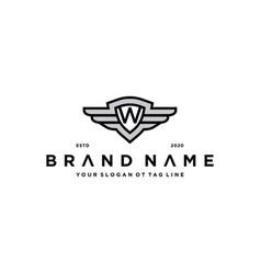 Letter w shield wing logo design concept vector