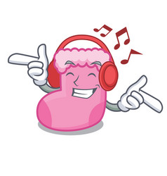 listening music sock mascot cartoon style vector image