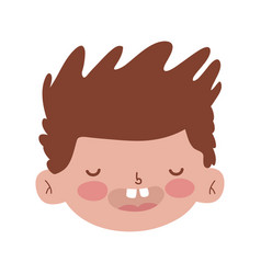 Little chubby boy head character vector