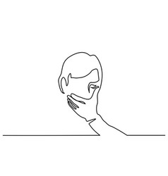 Man covering his mouth with hand vector