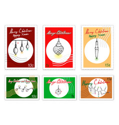 merry xmas post stamps set of hand drawn sketch vector image