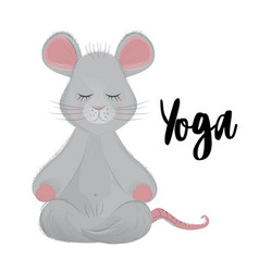 Mouse sits in a lotus position and meditates vector