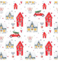nice watercolor christmas pattern vector image