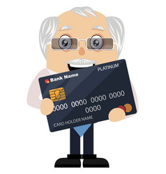 old man with credit card on white background vector image