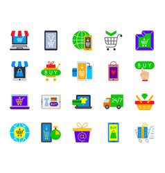 online shop simple flat color icons set vector image