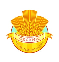 Organic wheat flour label vector