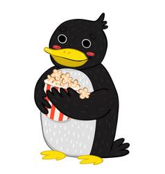 Penguin eating popcorn isolated on white vector