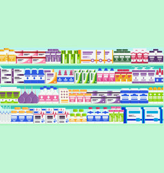 Pharmacy shelves with medicine vector