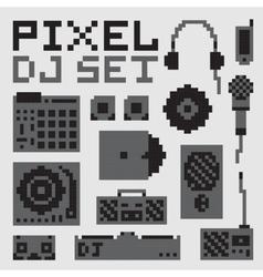 Pixel art dj set vector