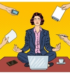 Pop Art Business Woman Meditating on the Table vector
