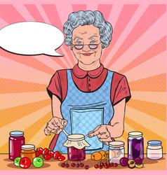 Pop art senior woman homemade jam healthy eating vector