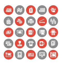 Printing house flat glyph icons print shop vector